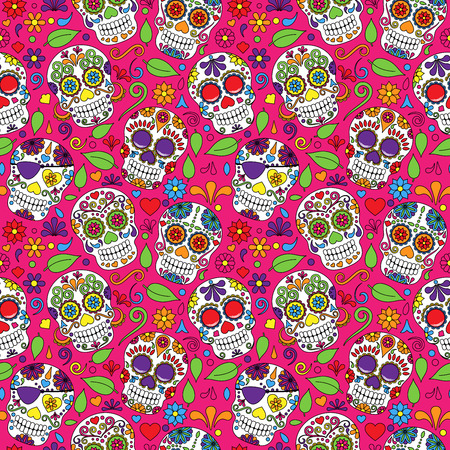mexico: Day of the Dead Sugar Skull Seamless Vector Background