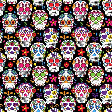 dia de muertos: Día del cráneo muerto del azúcar de fondo sin fisuras del vector Vectores