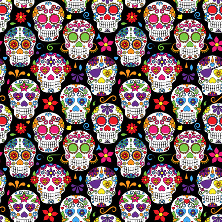 day of the dead: Day of the Dead Sugar Skull Seamless Vector Background