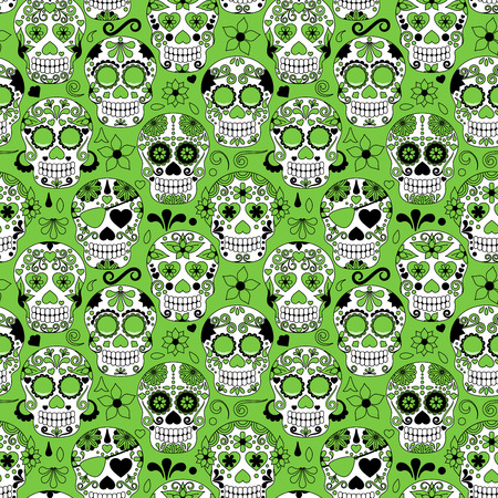 skull and bones: Day of the Dead Sugar Skull Seamless Vector Background