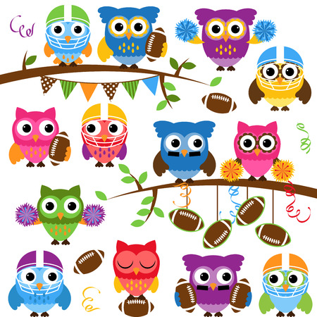 football party: Vector Collection of Cute Football or Sports Themed Owls
