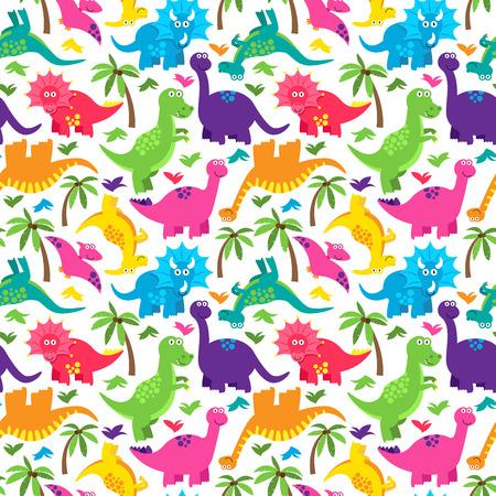 Dinosaur Nahtlose Tileable Vektor-Hintergrund-Muster Standard-Bild - 37193130
