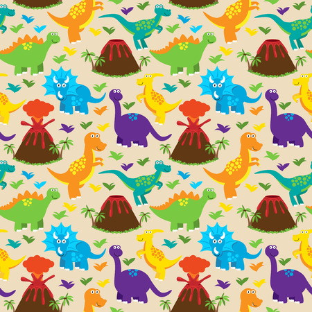 triassic: Dinosaur Seamless Tileable Vector Background Pattern