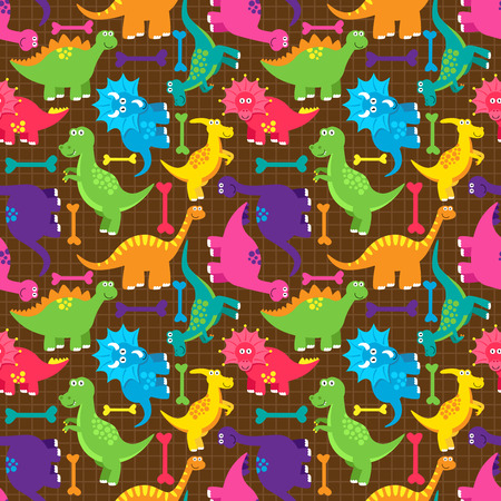 triceratops: Dinosaur Seamless Tileable Vector Background Pattern