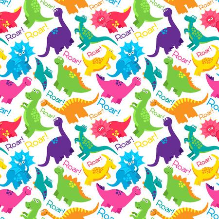 dinosaurio: Dinosaur Vector inconsútil de Tileable Fondo del modelo Vectores