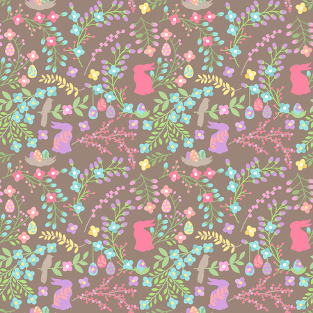 egg hunt: Vector Seamless Tileable Easter Background Pattern with Flowers Illustration