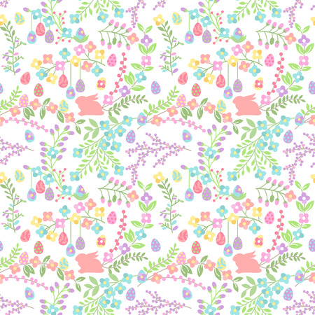 seamless: Vector Seamless Tileable Easter Background Pattern with Flowers Illustration