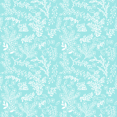 vintage borders: Vector Seamless Tileable Easter Background Pattern with Flowers and Bunnies