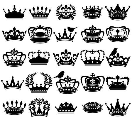 couronne royale: Collection Vecteur de style vintage Couronne Silhouettes Illustration