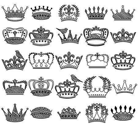 corona de reina: Colecci�n de Doodle Vintage Estilo Corona Siluetas Vectores