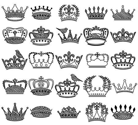 Collection of Doodle Vintage Style Crown Silhouettes 矢量图像