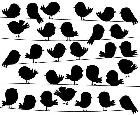 Cute Cartoon Style Bird Silhouettes in Vector Format Vector