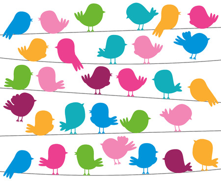 bird beaks: Cute Cartoon Style Bird Silhouettes in Vector Format