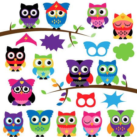 kapow: Vector Set of Superhero Owls with Branches and Speech Bubbles