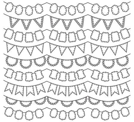 Vector Collection of Black Line Art Bunting Vector
