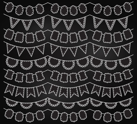 Vector Collection of Chalkboard Bunting Vector