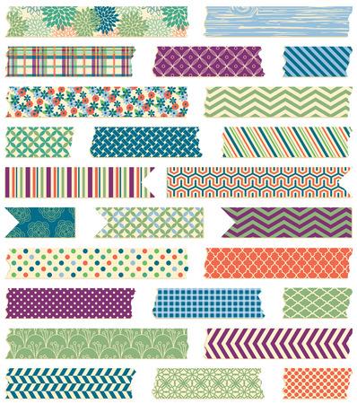 Vector Verzameling van Cute Patterned Washi Tape Strips in Mannelijke Kleuren Stock Illustratie