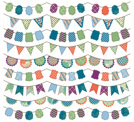 Collection of Bright and Colorful Wedding, Holiday, Birthday or Party Bunting Vector