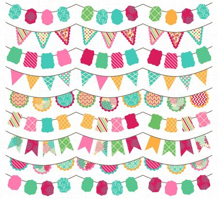 wedding reception decoration: Collection of Bright and Colorful Wedding, Holiday, Birthday or Party Bunting