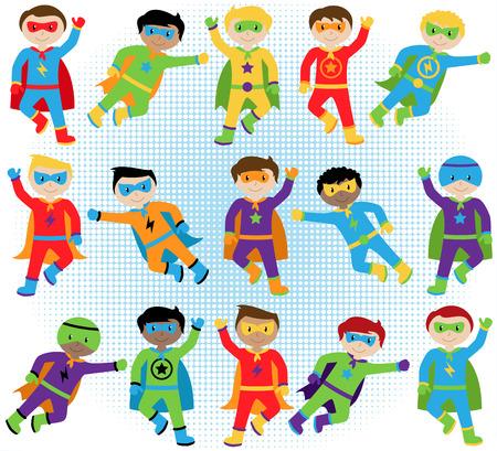 niño: Conjunto de Boy Superhéroes en formato vectorial Vectores