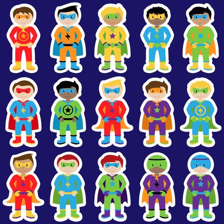 villain: Set of Boy Superheroes in Vector Format