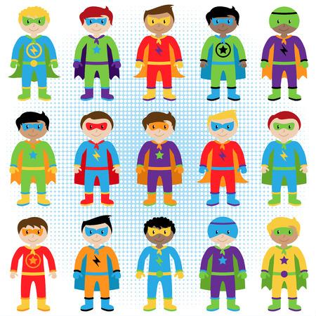 ni�os latinos: Conjunto de Boy Superh�roes en formato vectorial Vectores