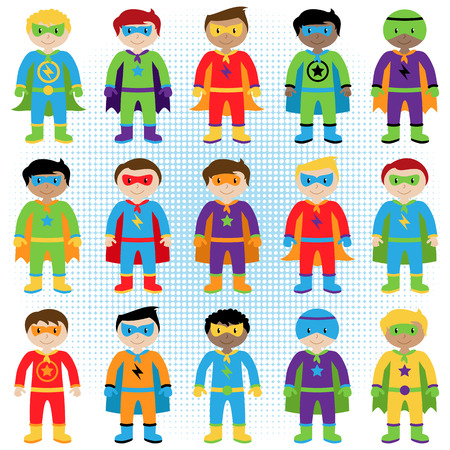 superhero: Set of Boy Superheroes in Vector Format