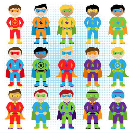 cartoon superhero: Set of Boy Superheroes in Vector Format