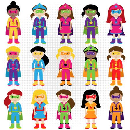 Verzameling van diverse groep Superhero Girls