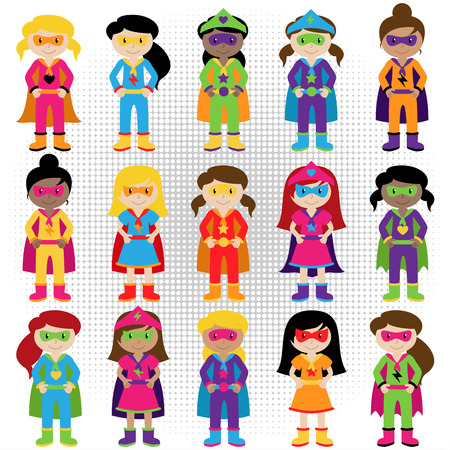 Collection of Diverse Group of Superhero Girls