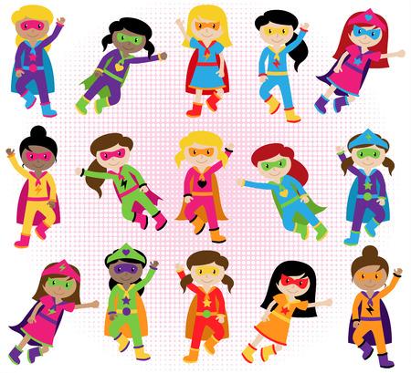 ni�os latinos: Colecci�n de Grupo diverso de Superhero Girls Vectores
