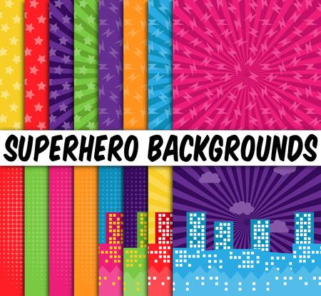 comico: Colecci�n de 16 Fondos Vector Superhero Tem�ticas Vectores