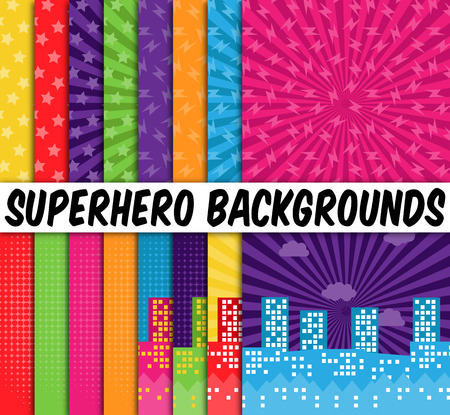 cartoon superhero: Collection of 16 Vector Superhero Themed Backgrounds