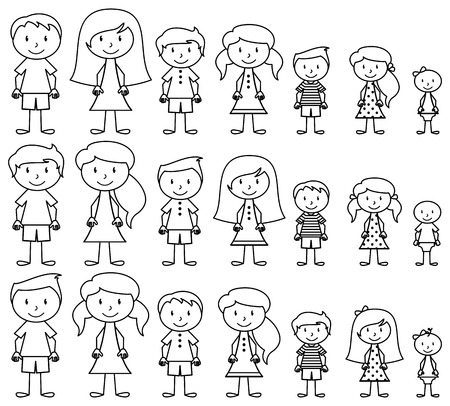 Set of Cute and Diverse Stick People in Vector Format  イラスト・ベクター素材