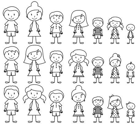famille: Ensemble de mignons et diverses personnes de b�ton dans le Vector Format
