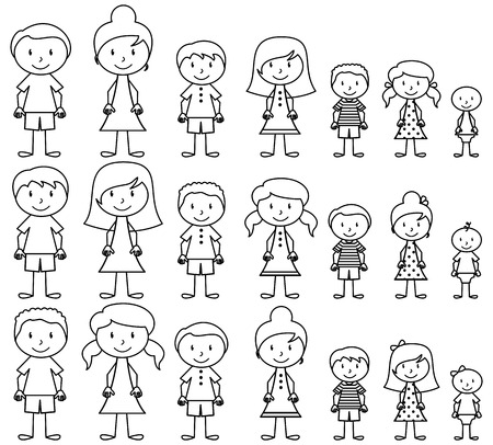 Set of Cute and Diverse Stick People in Vector Format Çizim