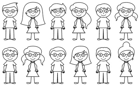 simple girl: Set of Cute and Diverse Stick People in Vector Format Illustration