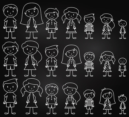 stick children: Set of Cute and Diverse Chalkboard Stick People in Vector Format