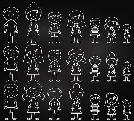Set of Cute and Diverse Chalkboard Stick People in Vector Format