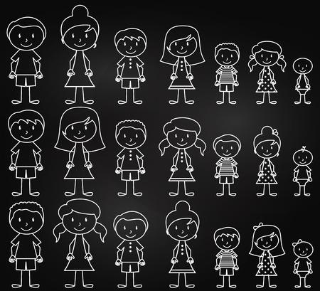 Set van leuke en gevarieerde Schoolbord Mensen van de Stok in Vector Format