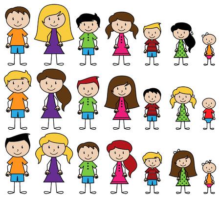 ni�os latinos: Conjunto de lindos y diversos gente del palillo en formato vectorial