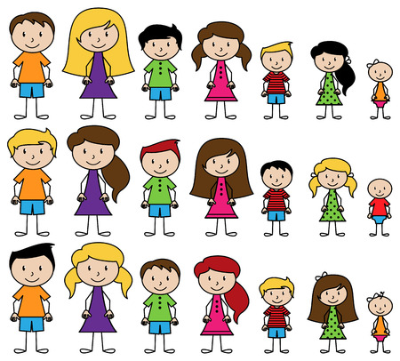 Set of Cute and Diverse Stick People in Vector Format Illustration