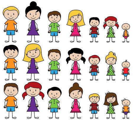 mujeres y niños: Conjunto de lindos y diversos gente del palillo en formato vectorial