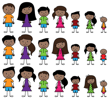 Set of Cute and Diverse Stick People in Vector Format Ilustração