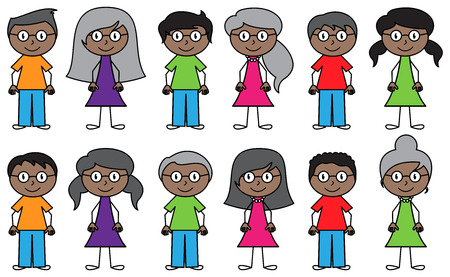 african boys: Set of Cute and Diverse Stick People in Vector Format Illustration