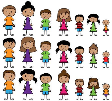 niños latinos: Conjunto de lindos y diversos gente del palillo en formato vectorial