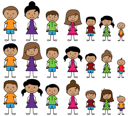 moms: Set of Cute and Diverse Stick People in Vector Format Illustration