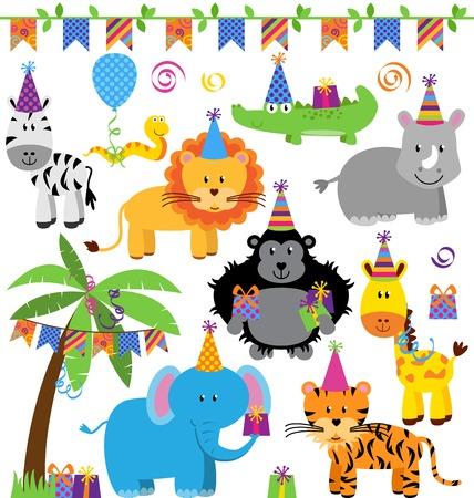 selva caricatura: Colección de vectores de la selva temáticas fiesta de cumpleaños, Zoo o Safari Animales