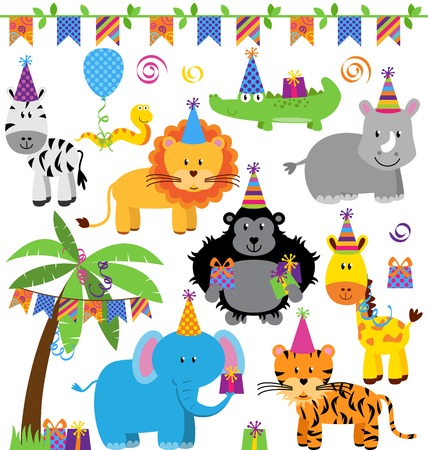 Vector Verzameling van Birthday Party Themed Jungle, de dierentuin of Safari Dieren