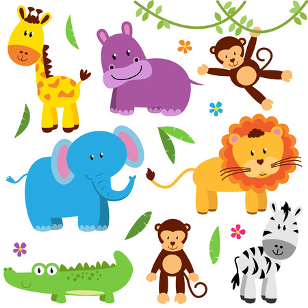 animal cartoon: Cute Vector Set of Zoo Animals
